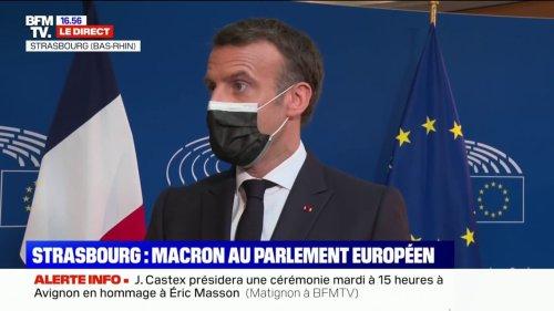 """Emmanuel Macron: """"Pour répondre aux variants, on voit que d'autres vaccins sont aujourd'hui plus efficaces"""""""