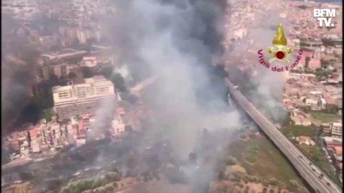 En Italie, la ville sicilienne de Catane est en proie aux flammes