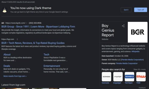 Google Search dark mode rolling out now - here's how to turn it on
