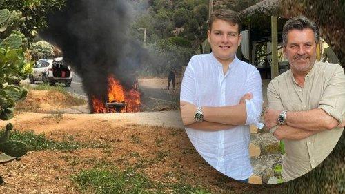 Auto bei Vater-Sohn-Tour in Flammen aufgegangen