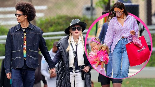 Madonna mit Toyboy  auf dem Bolzplatz