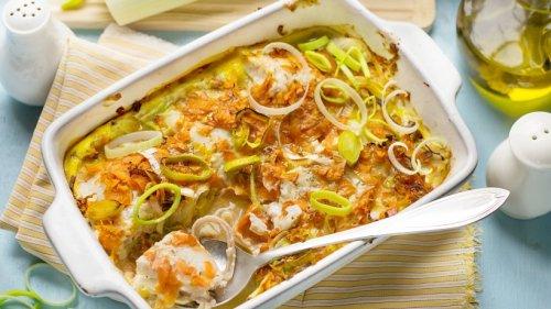 Aus dem Ofen: Gebackene Seelachsfilets mit Lauch & Möhren