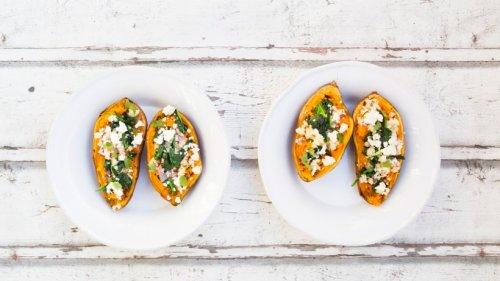 Geht immer: Gefüllte Süßkartoffel mit Spinat und Feta