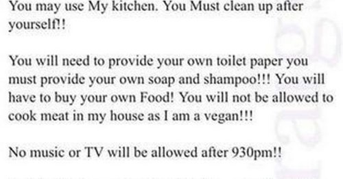 Landlord's strict rules for tenants paying £950 - including no TV after 9.30pm