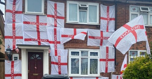 England fan says he was threatened online for covering home in 23 flags