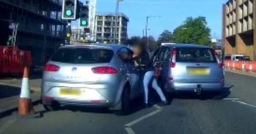 Dashcam captures woman battering driver in road rage attack