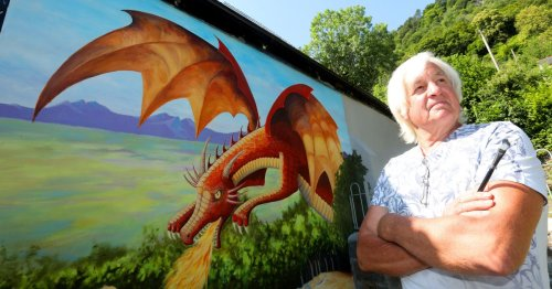 The stunning new dragon mural spreading its wings over Snowdonia artists' lair