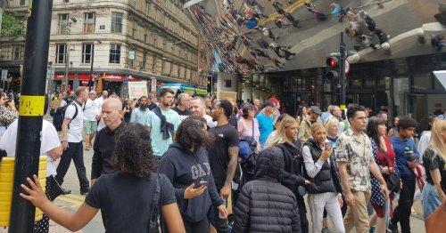 Anti-vaccine protestors march on the A38 in Birmingham City Centre