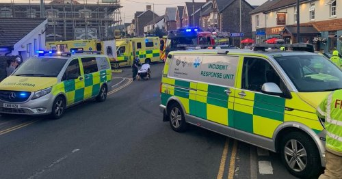 Lorry collides with 'number of pedestrians' near Welsh pub