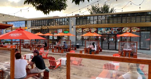 Toronto's beach-themed outdoor patio in a parking lot is open for the summer