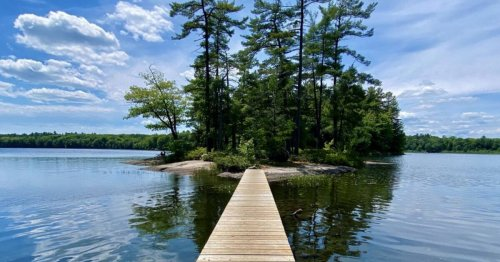 This provincial park in Ontario has boardwalks over a serene lake and a small island