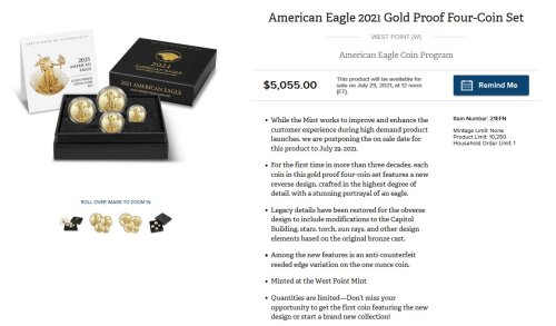 $10,160 Spend + $940 Commission: US Mint Coin Deal (7/29/21 at 12pm EDT) - Rapid Travel Chai