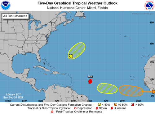HURRICANE CENTER: Sam Turning, But Two Systems Forming East Of Florida