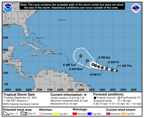TROPICAL STORM SAM FORMS, EXPECTED TO BECOME MAJOR HURRICANE, NOW EAST OF FLORIDA