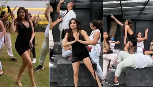 Janhvi Kapoor twerks with her Aksa gang in a hilarious Temperature Challenge video   Bollywood Bubble