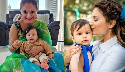 Dimpy Ganguly Captures Her Son Aryaan Trying To Brush His Two Teeth, Standing On A Stool In Bathroom