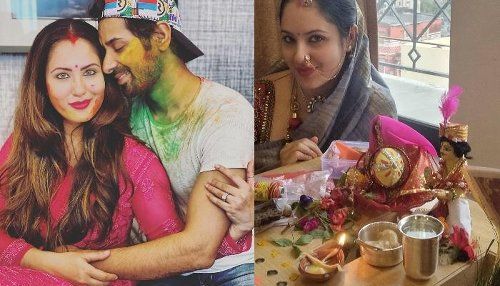 Kunal Verma Shares A Picture Of His Wife, Puja Banerjee And Their Baby Getting Ready For Gangaur