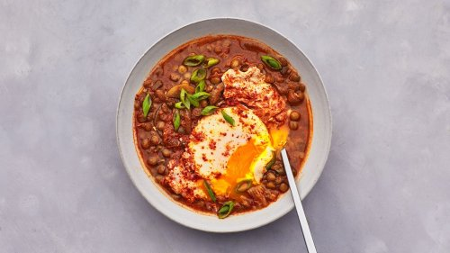 Kimchi-Lentil Stew With Poached Eggs