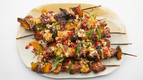 Phanaeng-Curry Beef Skewers With Grilled Pumpkin