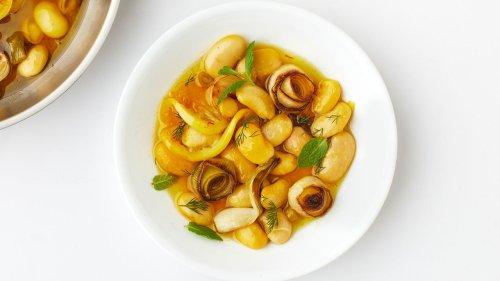 Bean Confit With Lemon, Saffron, and All the Alliums