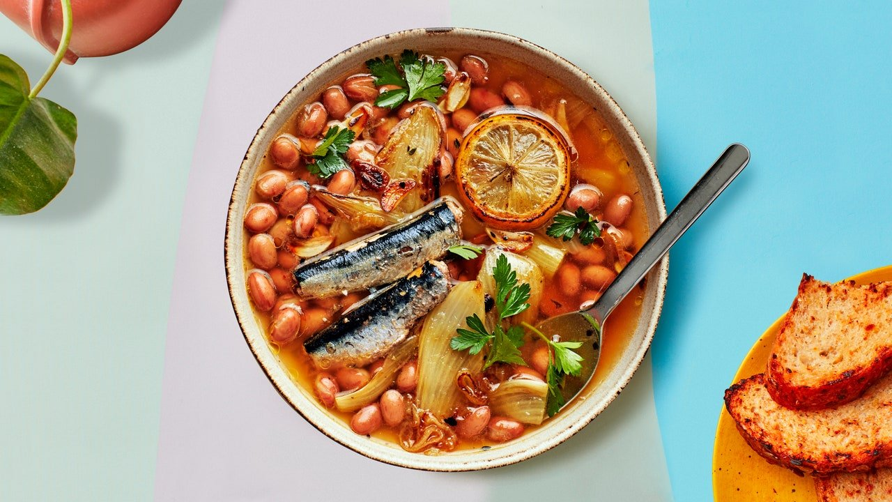Braised Beans and Sardines With Fennel