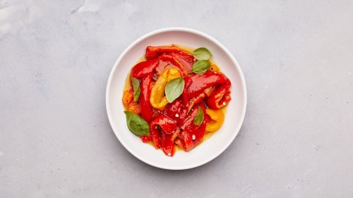Marinated Peppers with Basil and Garlic