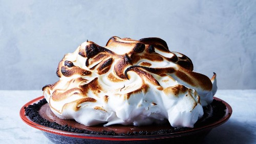 No-Bake Chocolate Cream Pie with Toasted Meringue