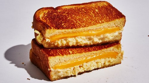 Breakfast Grilled Cheese with Soft Scrambled Eggs