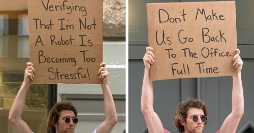 Dude Keeps Protesting Annoying Everyday Things With Funny Signs (48 New Pics)