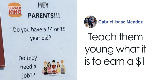 People Call Out Burger King For Their Strategy To Hire 14 And 15 Year Olds As Cheap Labor