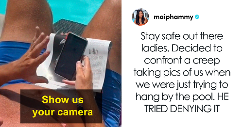 Women Confront This Creep Taking Pics And Videos Of Them At The Pool, But Some Say It's Legal Since It's A 'Public Space'