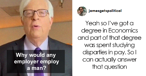 Political Commentator Mocks Gender Pay Gap Asking 'Why Would Anyone Employ Men', This Person With An 'Actual Degree' Shuts Him Down