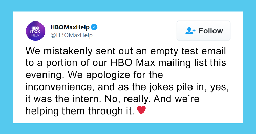 """Intern's Mistake At HBO Max Gets Called Out, And Twitter Responds With Wholesome """"Dear Intern"""" Posts"""