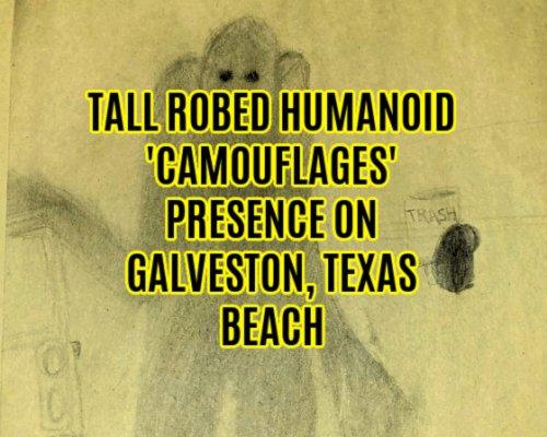 Tall Robed Humanoid 'Camouflages' Presence on Galveston, Texas Beach