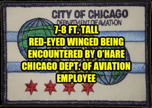 7-8 Ft. Tall Red-Eyed Winged Being Encountered by O'Hara Chicago Dept. of Aviation Employee