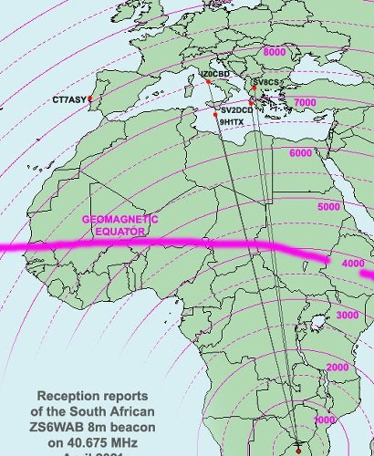 More reception reports of the South African 40 MHz beacon in Europe - Apr 2021