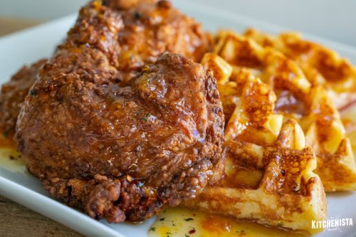 The Kitchenista Diaries: Buttermilk Fried Chicken Waffles with Sweet Spicy Peach Syrup