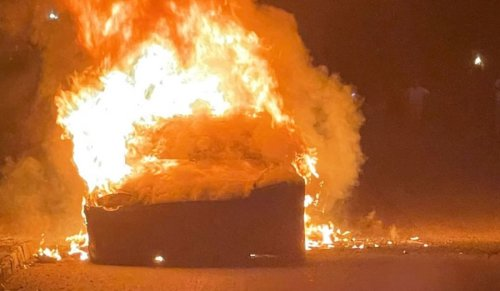 The Tesla caught fire while charging while its owner was asleep