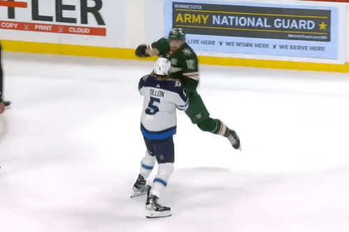 Watch: Marcus Foligno starts fight with a superman punch