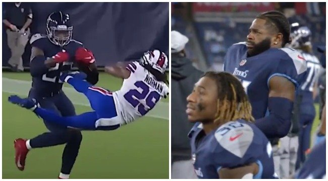 The Mic'd Up Reaction From The Titans Sideline After Derrick Henry's Monster Stiff Arm Is Explosive - BroBible