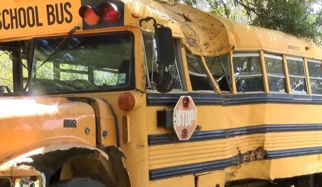 Video: 11-year-old steals school bus, flips off cops, crashes