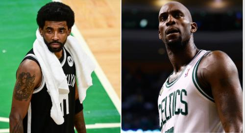 Kevin Garnett Reacts To Kyrie Irving Disrespectfully Stomping On Celtics' Logo - BroBible