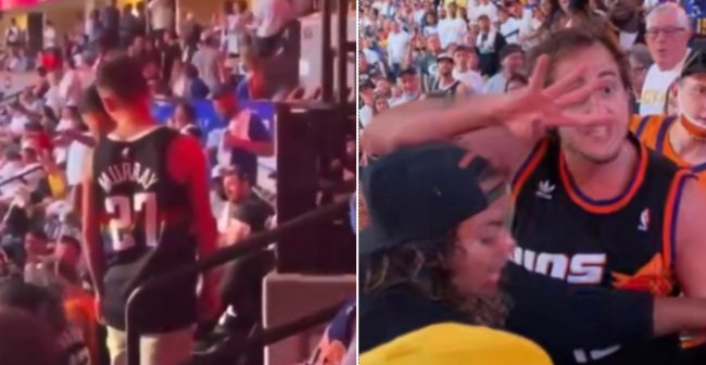 New Video Shows Two Nuggets Fans Pouring Beer On 'Suns In 4' Guy Before Getting Beat up