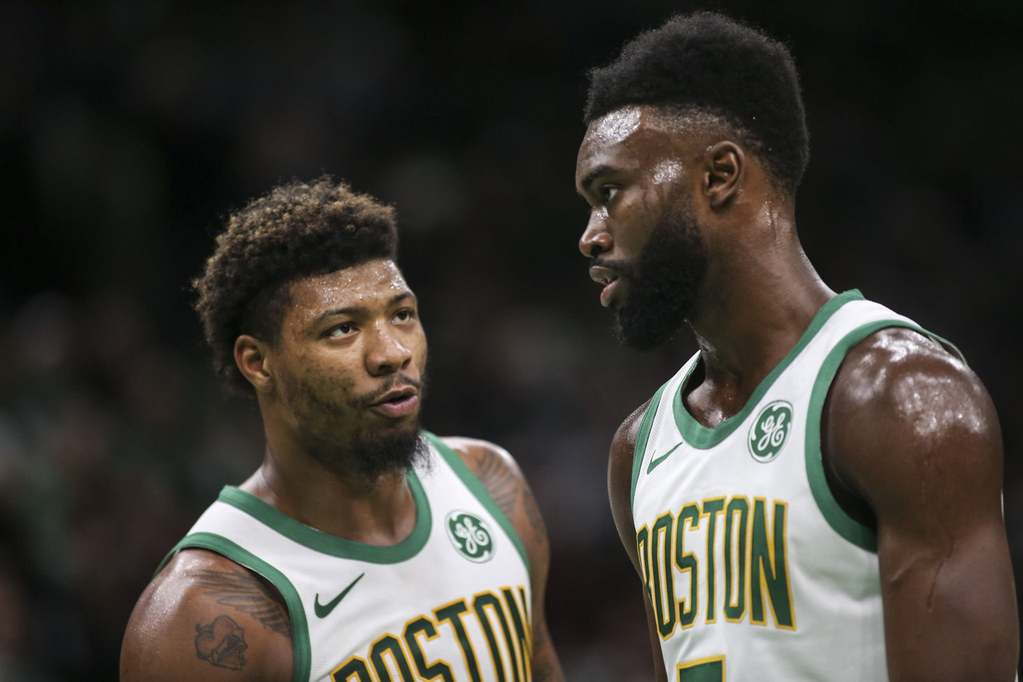 Celtics Teammates Marcus Smart And Jaylen Brown Reportedly Got Into Heated Confrontation And Had To Be Separated After Game 2 Loss To Miami Heat - BroBible