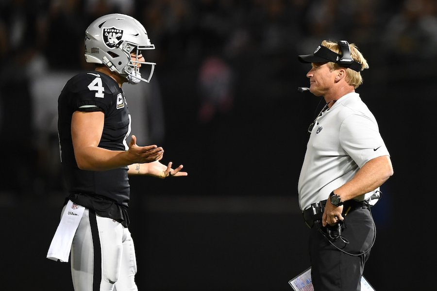 Jon Gruden Shocked To Hear Derek Carr Use His Wife's Name While Calling Audible At Line Of Scrimmage - BroBible