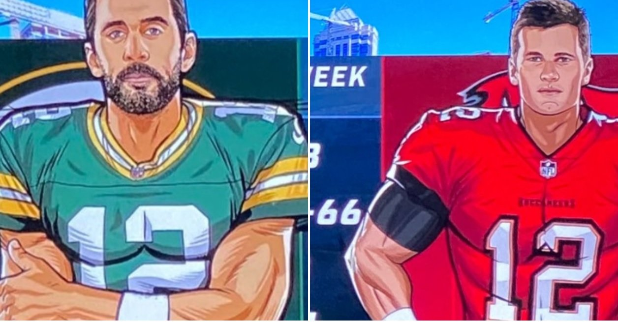 NFL Fans Were Confused After Fox Gave Tom Brady And Aaron Rodgers Huge Muscles In Their Pregame Graphic - BroBible