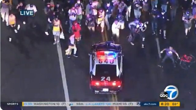 Rowdy Lakers Fans Throw Objects At Police Cars During Championship Celebration In LA - BroBible