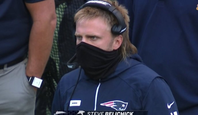 The Internet Reacts To Steve Belichick's Glorious Mullet During SNF's Seahawks Patriots Game - BroBible