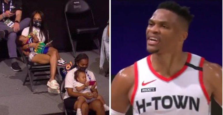 Russell Westbrook Cursing And Yelling 'F- They Talking About' With Players' Wives And Babies In Attendance During Game 1 Vs Lakers Becomes A Meme - BroBible