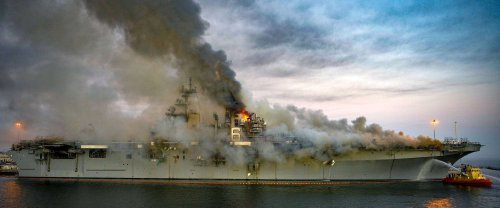 US Navy charges sailor accused of starting the fire that completely destroyed his amphibious assault ship